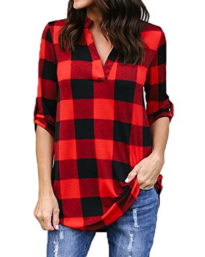 Kyerivs Womens Buffalo Check Plaid Shirts V Neck Roll Up/Long Sleeve Casual Long Blouse Tops