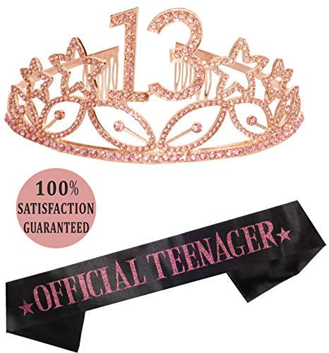 13th Birthday Tiara and Sash| Happy 13th Birthday Party Supplies| Official Teenager Satin Sash and Crystal Tiara Birthday Crown for 13th Birthday| 13th Birthday Decoration Party Supplies (Pink)