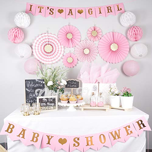 Pink Baby Shower Decorations for Girl | Girl Baby Shower Decorations | Baby Girl Shower Decorations| Pink and Gold Baby shower Decorations | Baby Shower Decor | Its a Girl Baby Shower Girl Decorations ()