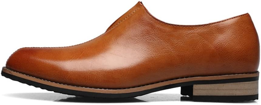 Mens Block Heel PU Leather Vamp Shoes Slip-on Breathable Lined Business Oxfords Shoes Shoes Color : Brown, Size : 6.5 M US
