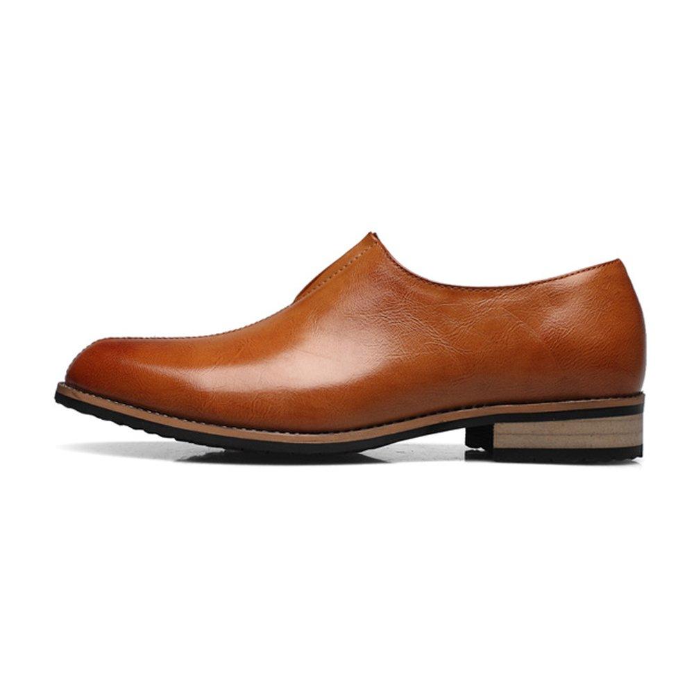 Lederschuhe Herren Lederschuhe Glattes PU-Leder Oberen Slip-on Atmungsaktiv Braun Formale Geschäfts Oxfords Schuhe Braun Atmungsaktiv 679cbd