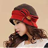 CXYY Winter Hat ladies hand-woven wool and cashmere double warm wool ear knit , b