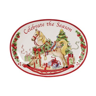 Celebrate The Season Sentiment Oval Serving Tray]()