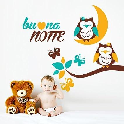 Adesivo murale per bambini Wall Art Gufetti della buonanotte 2 - Misure 100x91 cm - Decorazione parete, adesivi per muro, carta da parati