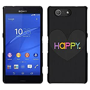 // PHONE CASE GIFT // Duro Estuche protector PC Cáscara Plástico Carcasa Funda Hard Protective Case for Sony Xperia Z3 Compact / Love Heart Black Brushed Colorful /