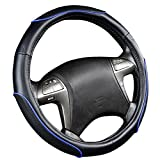 NEW ARRIVAL- CAR PASS Sporty Racing Leather Universal Fit Steering Wheel Cover fit for vehicles,cars,trucks,Suvs,Vans,Sedans( Black And Blue)