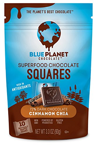 Blue Planet Chocolate Cinnamon Chia Superfood Chocolate Squares with Probiotics (Pack of - Foods Planet Blue