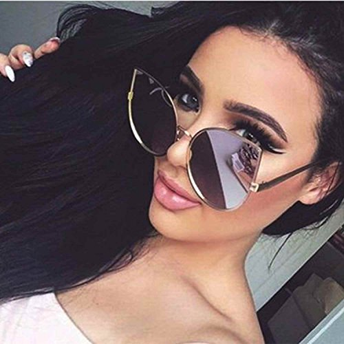 Cat Eye Oversized Women Sunglasses Large Metal Frame Pink Gold Mirrored - Store Sunglass Icon