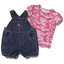 Carhartt Little Girls\' Denim Shortall Set,Vintage Wash,4T