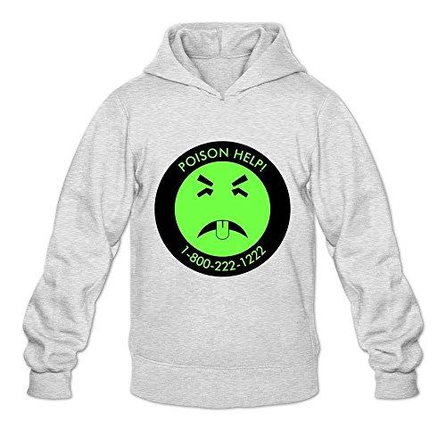 TWSY Men's Yuck Long Sleeve Hoodie Sweatshirt Size L Ash,100% Cotton