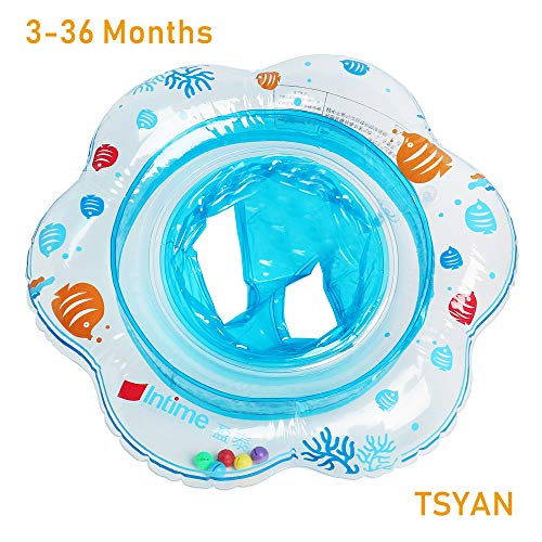 TSYAN Inflatable Baby Swimming Pool Float Ring with Safely Seat Double Airbag Swim Bath Water Toys Beach for Swim Training Kids Toddler Boys Girls Baby (Blue) (Neck Swimming Baby Ring)