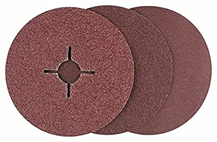 Bosch 2609256254 Fibre Sanding Disc Set for Angle Grinder Clamped for Wood and Metal 125 mm Disc, 22 mm Bore, 12 Pieces Mixed Grit Robert Bosch