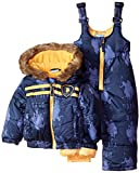 U.S. Polo Assn. Baby Boys' Printed Pongee Snowsuit, Navy, 12 Months
