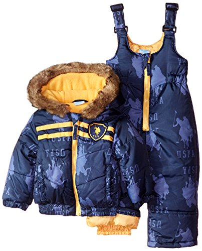 U.S. Polo Assn. Baby Boys' Printed Pongee Snowsuit, Navy, 12 Months by U.S. Polo Assn.