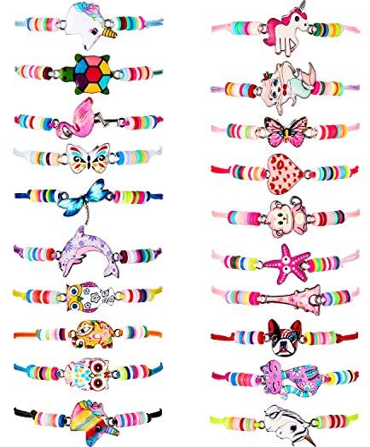 20 Pieces Kids Girls Women Bracelets Jewelry Animal Pendant Unicorn Owl Cute Bracelets Adjustable Woven Friendship Bracelets Multicolor Beaded Bracelets for Prize Pretend Play Party Favors
