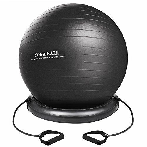 Xintop Kit Balle de Yoga, 75CM Anti Burst Balle de Fitness, en PVC avec Support, Courroies Élastiques, Anti-Statique Idéal pour Exercice, Pilate Gym, Maison, Bureau