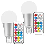 Yangcsl E26 LED Color Changing Light Bulb, 10W Dimmable RGB LED Light Bulbs with Remote Control, 60 Watt Equivalent (Pack of 2)
