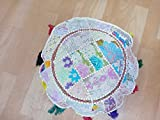 Indian 18'' Cotton Floor Cushion Cover Vintage Embroidered Patchwork Meditation Floor Pillow Seat Pouf Cover,Living Room Vintage Patchwork Cushion Cover, Pillow Throw,Handmade Cushion Cover