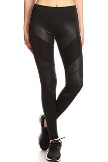 2eea43ca455d2 Karlywindow Womens Faux Leather Skinny Pants PU Stretchy Pleated ...