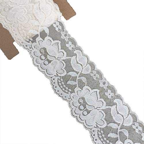 (Lace Realm 3.15 Inches Wide×10 Yards Stretch Floral Pattern Lace Ribbon Trim Lace for Headbands Garters & Crafts (Pearled Ivory) )