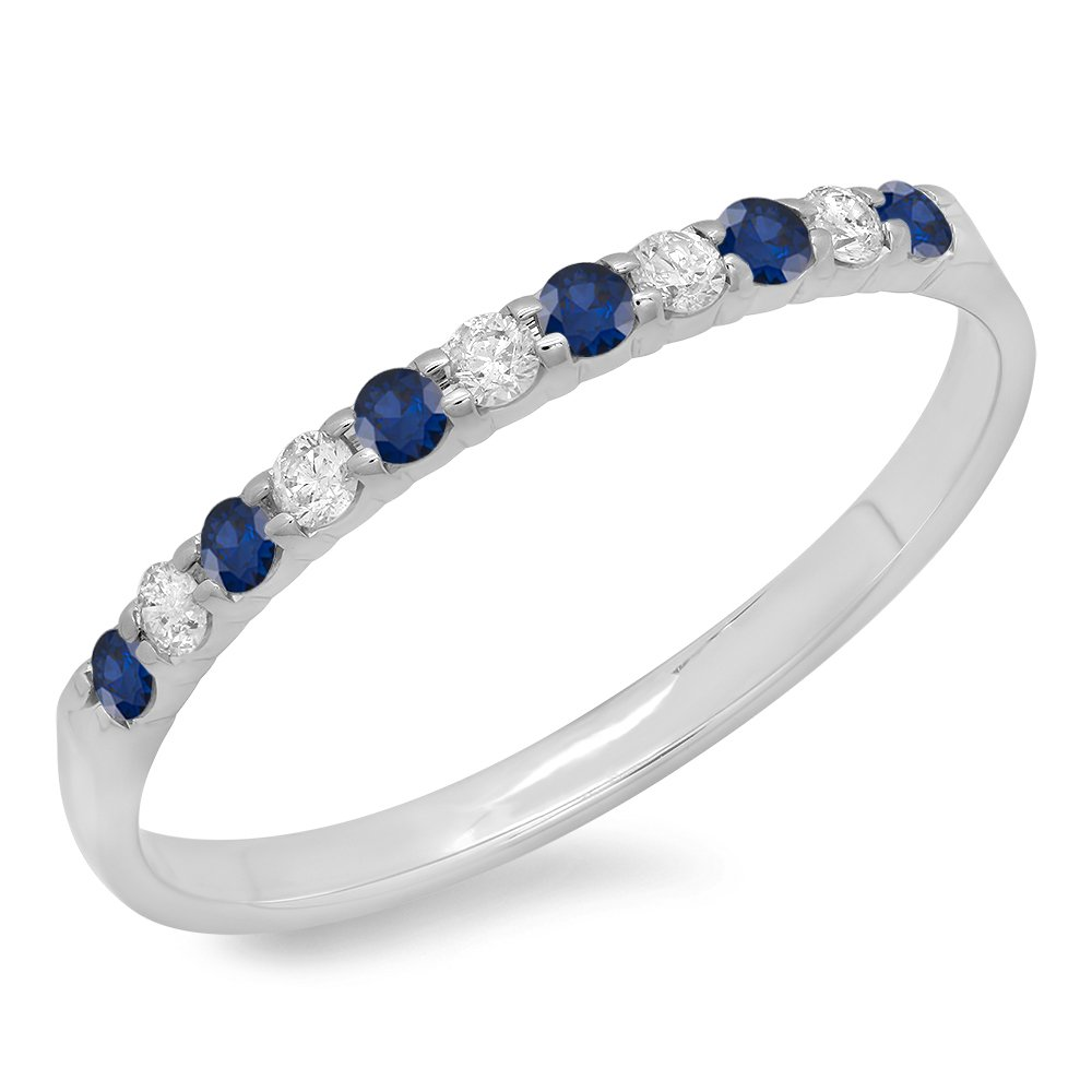 10K White Gold Round Blue Sapphire & White Diamond Anniversary Wedding Ring Stackable Band (Size 6.5)