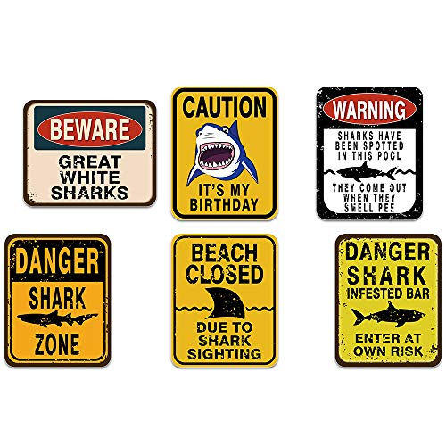 WERNNSAI Shark Zone Party Decorations - 6 PCS Funny Party Wall Decor Signs for Boys Kids Birthday Party Ocean Shark Theme Party Supplies -