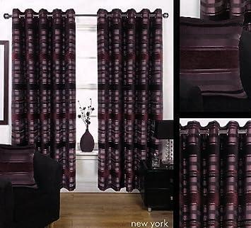 Superior New York Eyelet Curtains 90u0026quot;x90u0026quot; In Aubergine