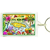 "Jamaica Map Acrylic Rectangular Souvenir Keychain 2.5"" X 1.5"""
