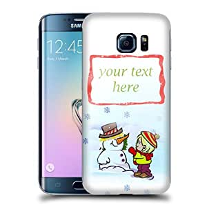 NICE CASE Christmas Building a Snowman (Add your own text, message, personalised, customisable) Snap-on Hard Back Case Cover for Samsung Galaxy S6 Edge by ruishername