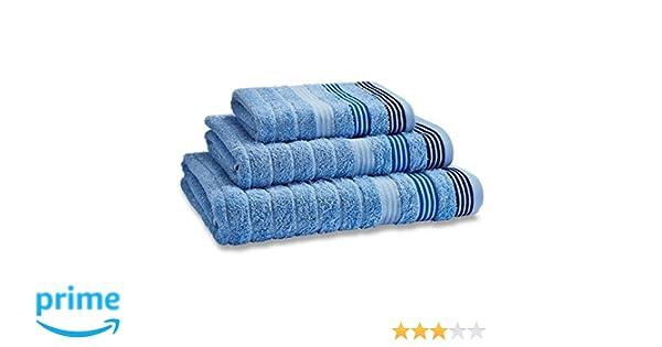 Catherine Lansfield - Toalla de Manos (50 x 85 cm, 100% algodón), diseño de Rayas, Color Azul: Amazon.es: Hogar
