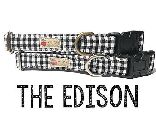Very Vintage Design The Edison Dog Cat Collar White Black Gingham Preppy Hipster Rustic Plaid Vintage Organic Cotton Pet Collar