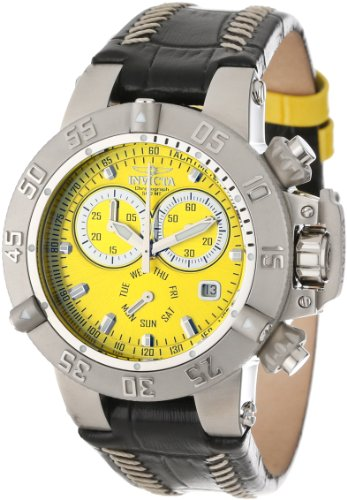 Invicta Women's 11619 Subaqua Chronograph Yellow Dial Black Leather Watch