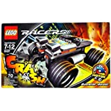Lego Year 2007 Power Racers Motor Series Car Set # 8137 - BOOSTER BEAST with Two Engines, Giant Tires and Pull Back Motor Plus Front End Pops Up on Impact Feature (Total Pieces: 70)
