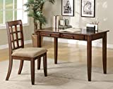 Coaster Casual Chestnut Wood Table Writing Desk with Two Drawers and Desk Chair