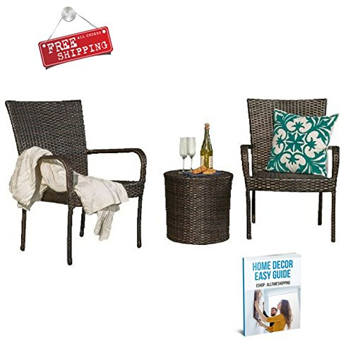 Patio Bistro Set Outdoor Bistro Table Set Wicker Small Garden Balcony Contemporary 3 Piece Bistro Set Outside Modern Brown Rattan & eBook by AllTim3Shopping price