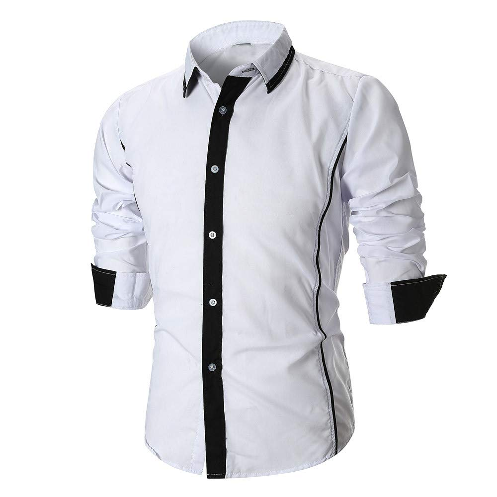 PASATO Personality Men's Autumn Casual Slim Long Sleeve Patchwork Shirt Top Blouse Outswear O-Neck Cardigan(White, S)