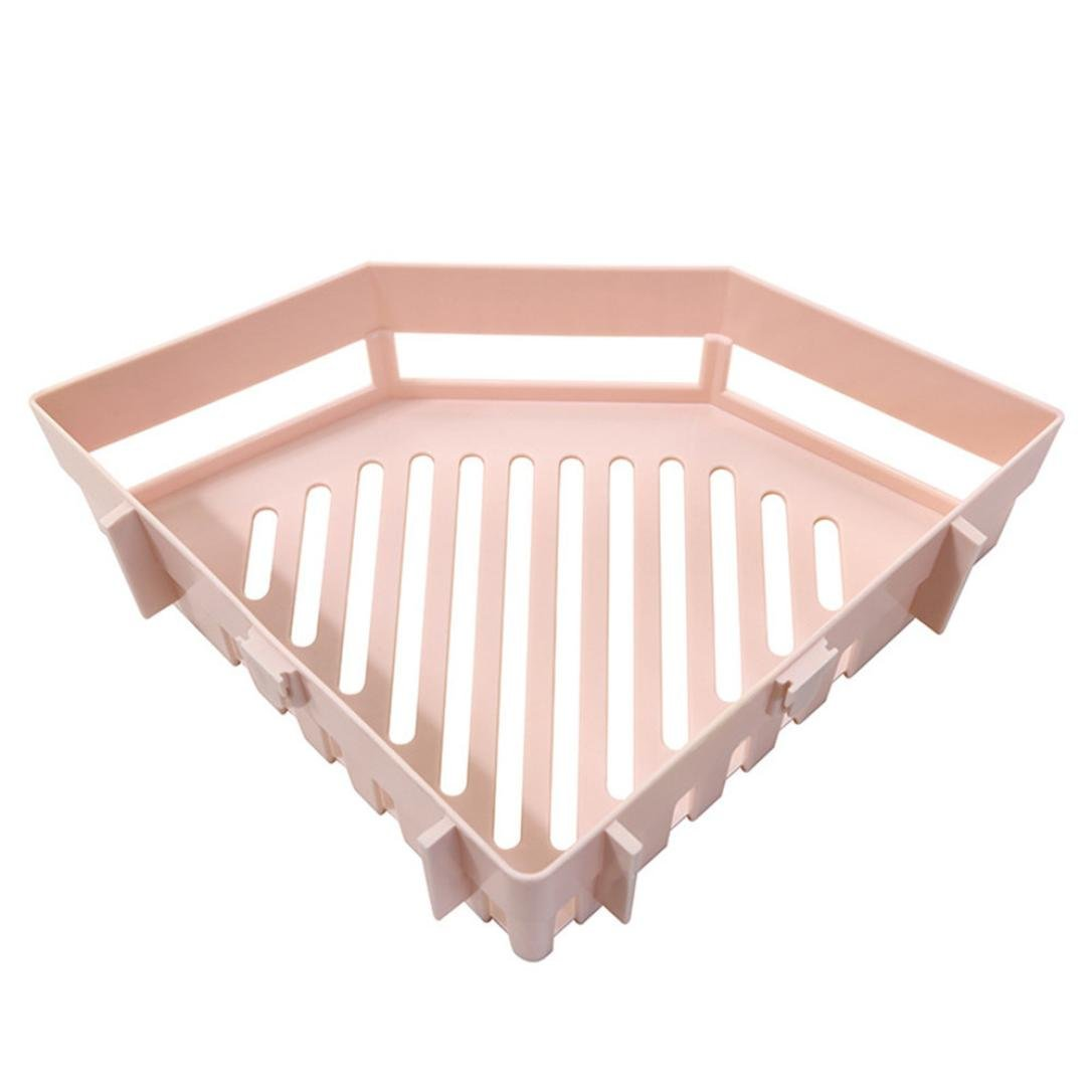 LiPing Bathroom Shelves For Toiletries Shower Gel Practical Type Non-trace Stick Wall Bathroom Accessories Decorations Organizer Shower Shelf (Pink, A)