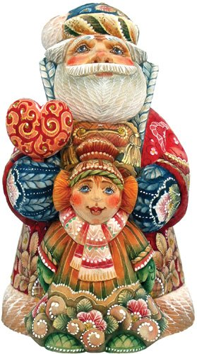 G.DEBREKHT / RUSSIAN GIFT Father Christmas With Girl - Russian Hand Crafted Hand Painted Folk Art 51782-1-GDB