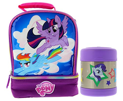 Thermos My Little Pony Soft Dual Zippered Compartment Reusable Lunch Bag Kit w/Padded Carry Handle & 10oz FUNTAINER Vacuum Insulated Stainless Steel Food Jar - Great for Children & Easy Transport