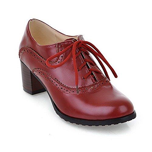 Amoonyfashion Donna Tacchi Gattino Solido Pizzo Su Materiale Morbido Rotondo Punta Chiusa Pompe-scarpe Rosse