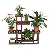 eclife Wooden Plant Stands Flower Rack Plant Stand Multifunctional Wood Shelves Storage Rack Bookshelf W/Hollow-Out Rack Bonsai Display Shelf Indoor Outdoor Garden S02