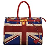 BIPE Women Union Jack and Lock Belt Printed Nylon Handbags, Bags Central