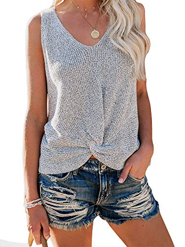 (Ybenlow Womens Summer V Neck Sleeveless Sweater Twist Knot Casual Loose Knit Tank Tops Grey)