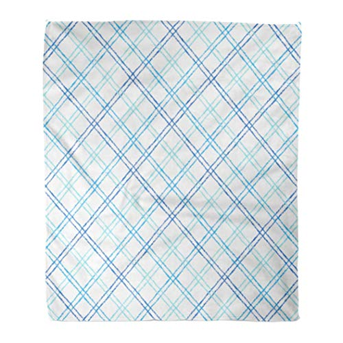 Emvency Flannel Throw Blanket Lattice Plaid Pattern Printing Check Mesh Grid Net Brush Chalk Drawn Diagonal Crossing Doubled Stripes Thin Lines 60x80 Inch Lightweight Cozy Plush Fluffy Warm Fuzzy -
