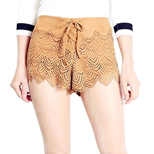 Retro Hot Pants - MUMUZI Women Suede Shorts Female Lace up Hollow Out Short Trousers Retro hot Pants (S)
