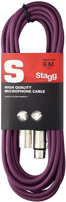 Purple Stagg SMC6 CPP High Quality 6 Metre Microphone Cable XLR M-XLR F