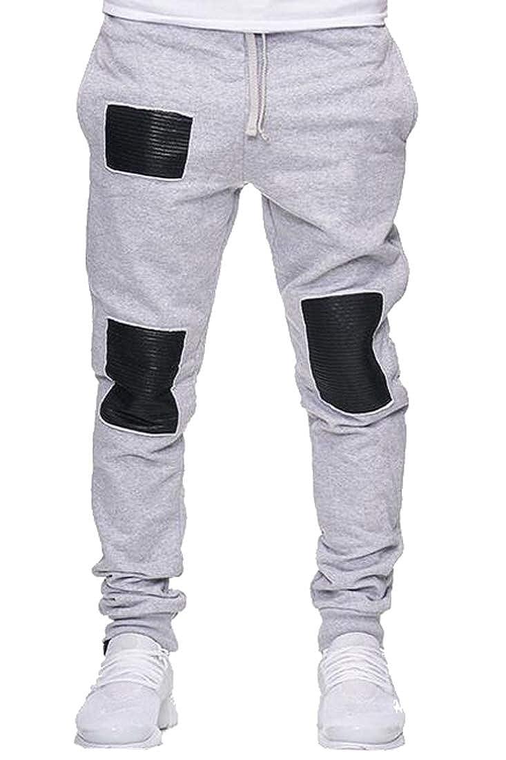 Heless Men Casual Gym Workout Pu Leather Stitching Jogger Sweatpants Pants Trousers
