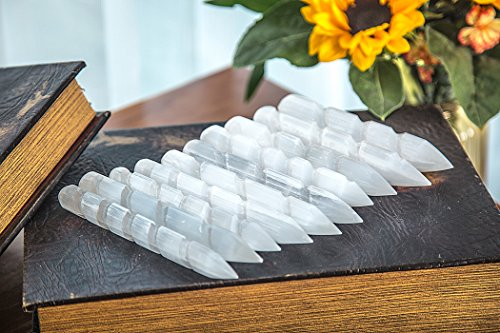 JIC Gem Spiral Faceted Selenite Crystal Massage Wand Powerful Healing Energy Reiki Set of 10