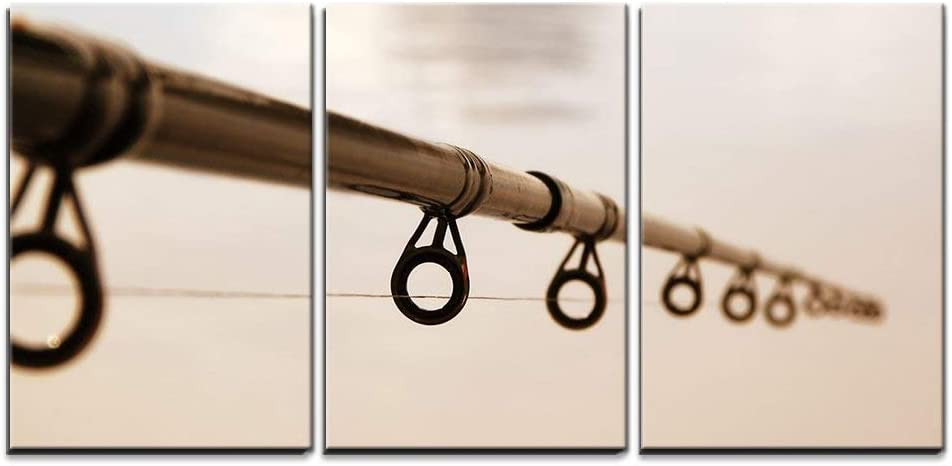 "wall26 - 3 Piece Canvas Wall Art - Fishing Rod Against The Water Surface - Modern Home Art Stretched and Framed Ready to Hang - 16""x24""x3 Panels"