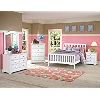 Beatrice Youth 5 Piece Full Sleigh Bedroom Set in White Finish